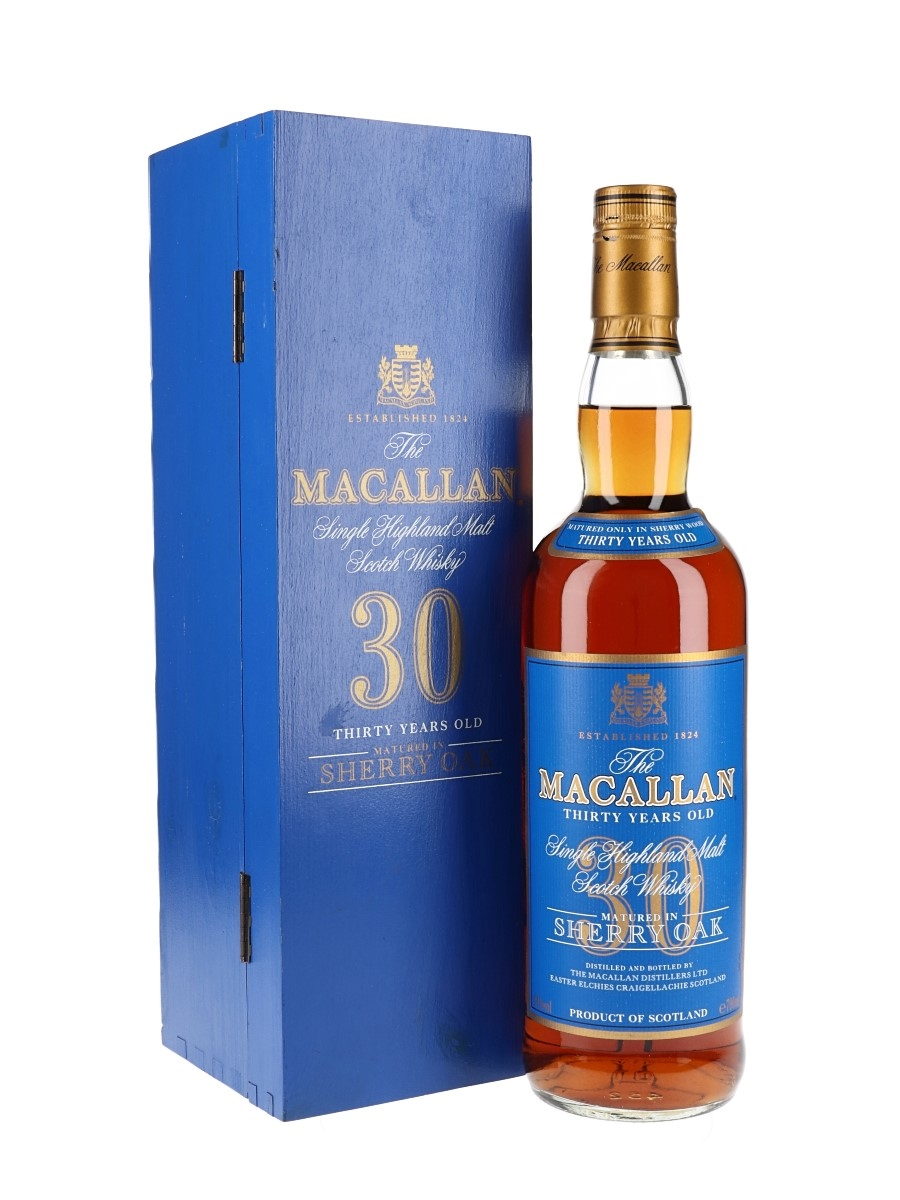 Macallan 30 year old matured in Sherry oak btl from the 1990s Blue Label and box