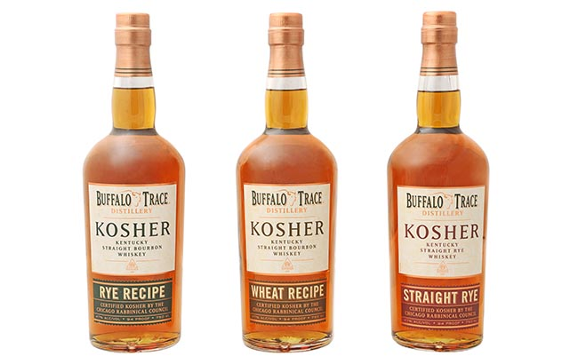 Buffalo Trace Kentucky Straight Bourbon KOSHER 3 pack RYE Recipe - Wheat Recipe - Straight Rye Certified Kosher by CRC