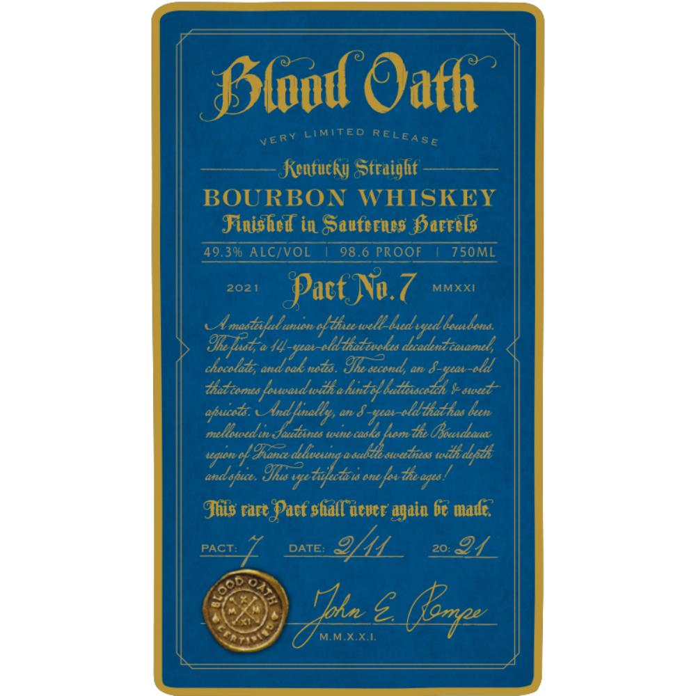 Blood Oath Pact No 7 Bourbon Finished in Sauternes Barrels